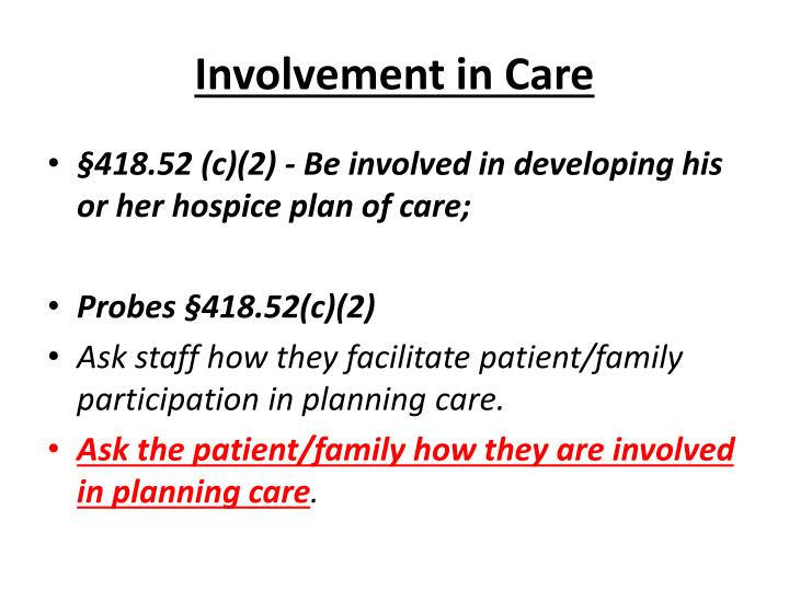 Involvement in Care