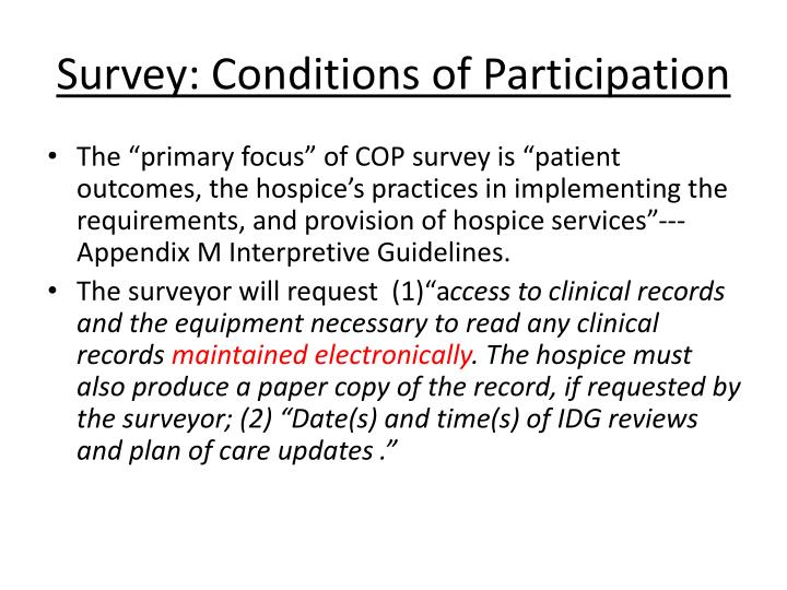 Survey conditions of participation