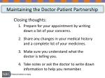 maintaining the doctor patient partnership