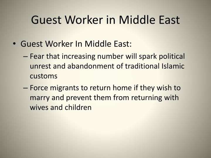 Guest Worker in Middle East