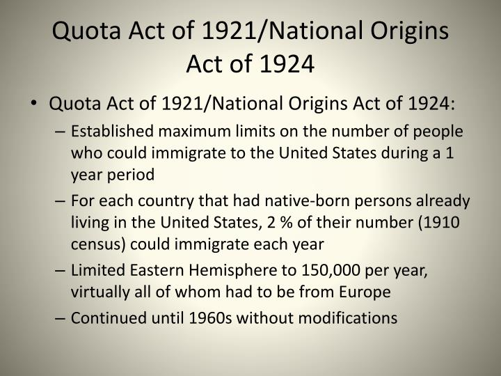 Quota act of 1921 national origins act of 1924