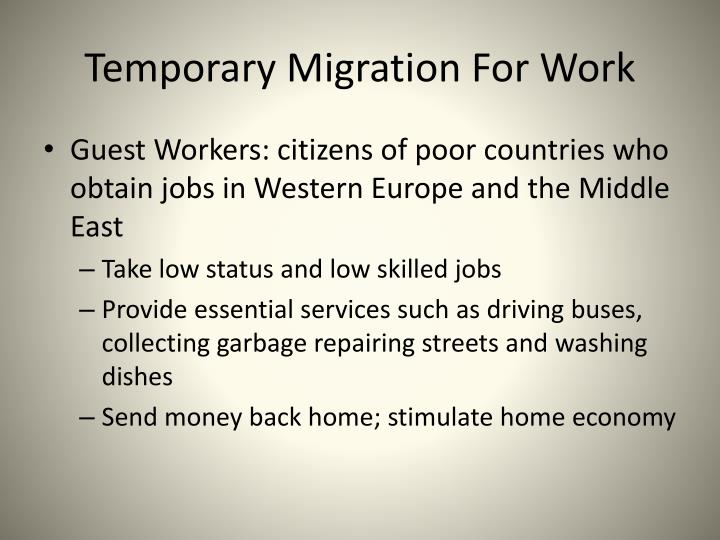Temporary Migration For Work