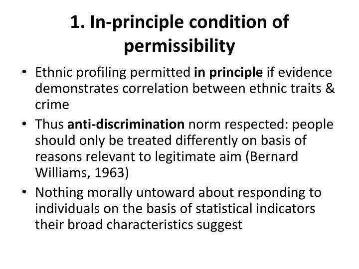 1. In-principle condition of permissibility
