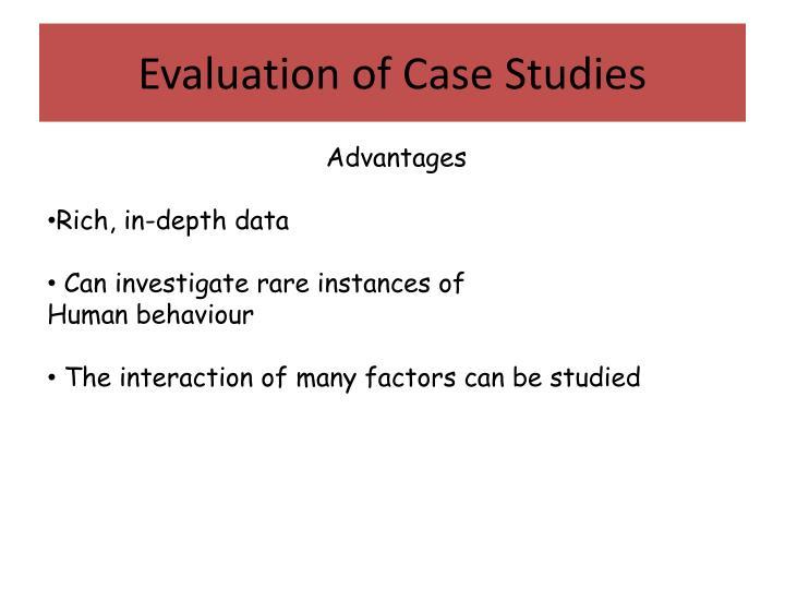 Evaluation of Case Studies