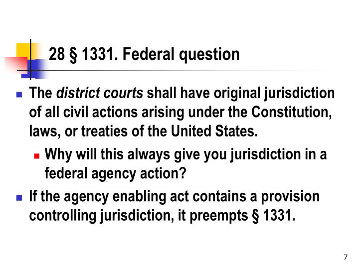 28 § 1331. Federal question