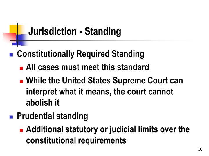 Jurisdiction - Standing