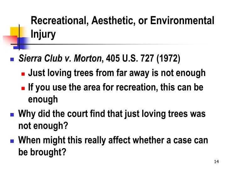Recreational, Aesthetic, or Environmental Injury