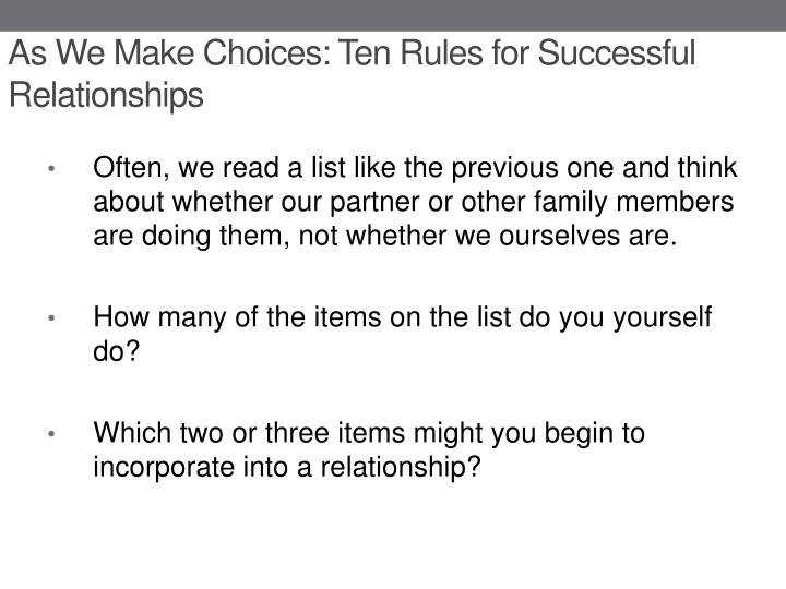 As We Make Choices: Ten Rules for Successful Relationships