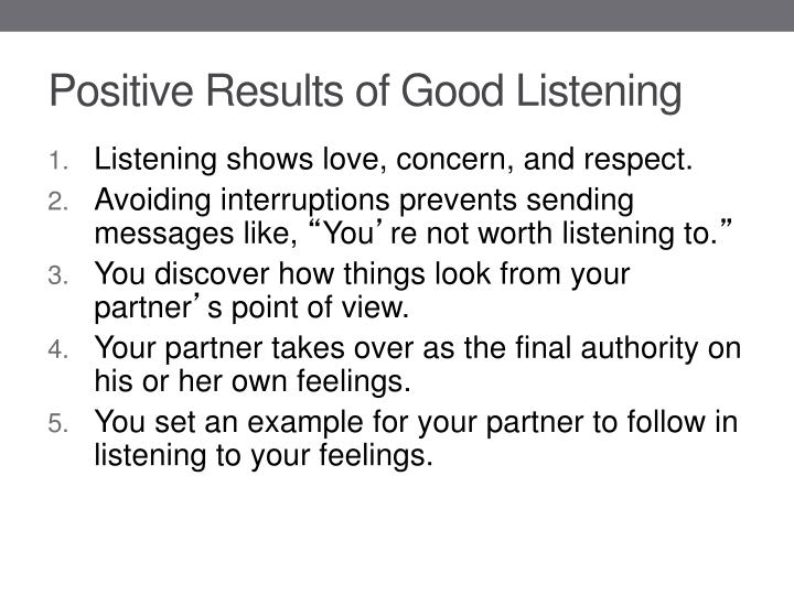 Positive Results of Good Listening