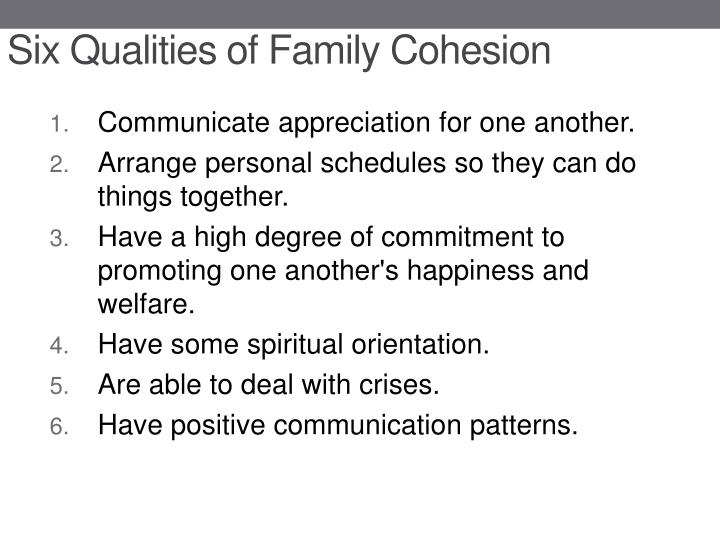 Six Qualities of Family