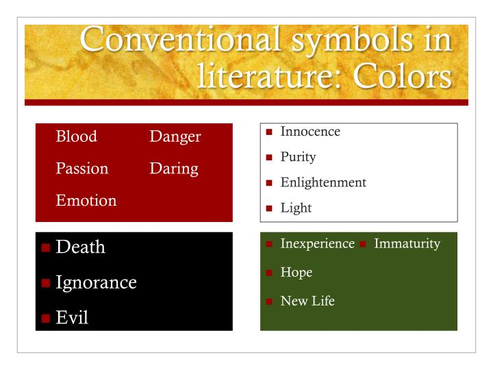 Conventional symbols in literature: Colors