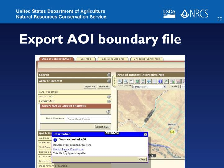 Export AOI boundary file