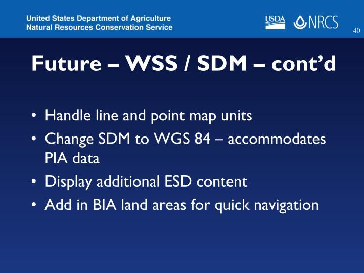 Future – WSS / SDM – cont'd