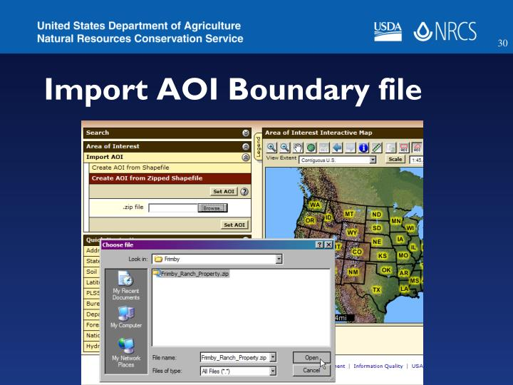 Import AOI Boundary file