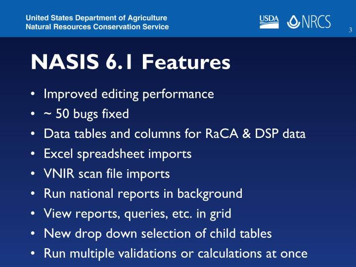 NASIS 6.1 Features
