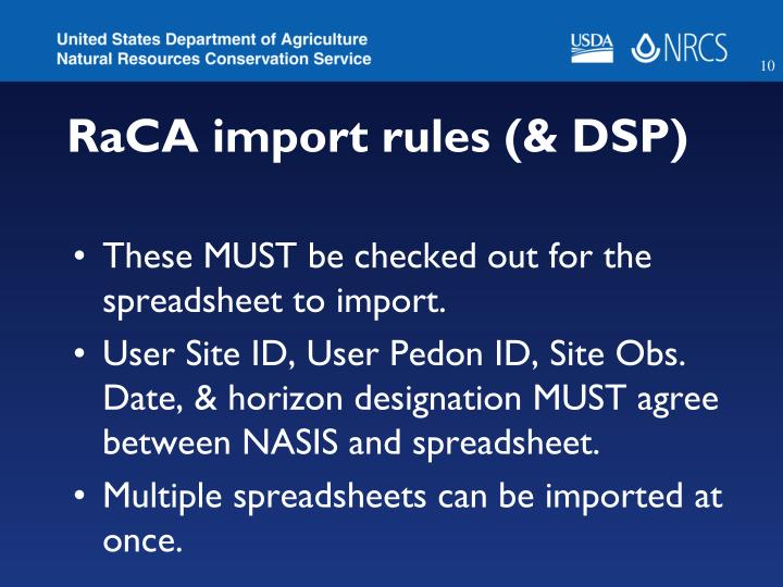 RaCA import rules (& DSP)
