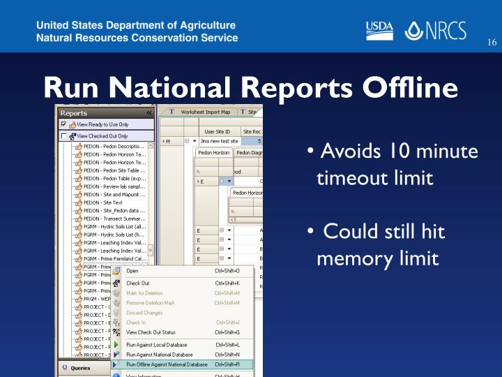 Run National Reports Offline