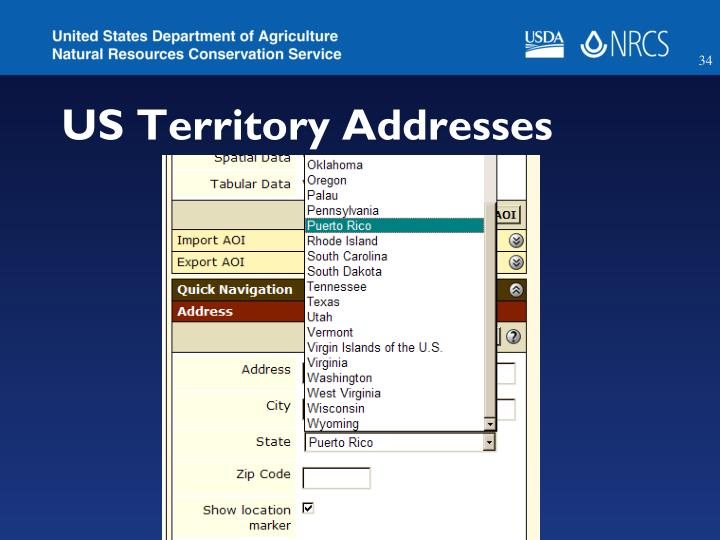 US Territory Addresses