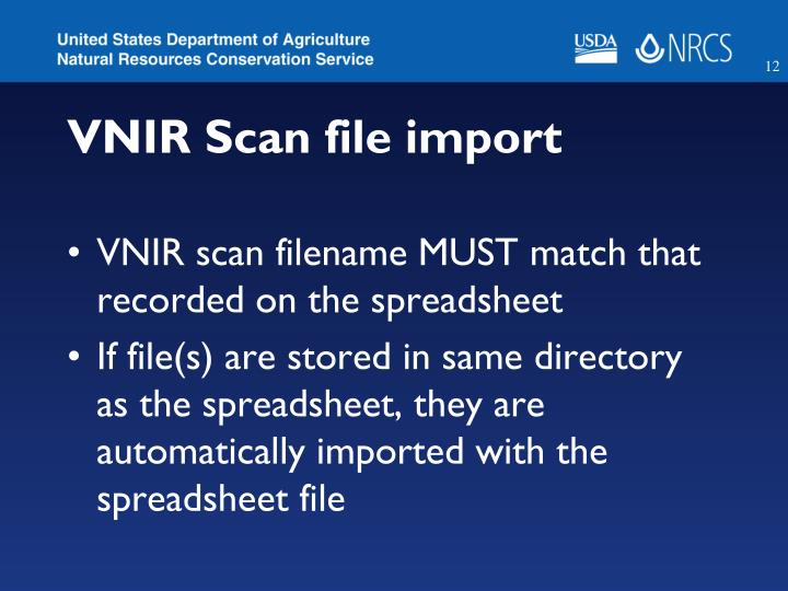 VNIR Scan file import