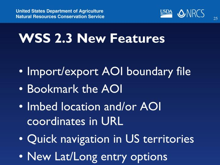 WSS 2.3 New Features