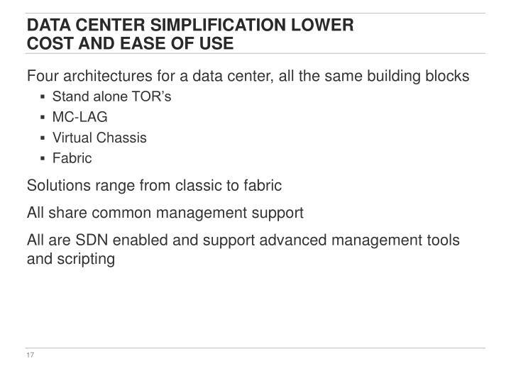 Data Center Simplification Lower
