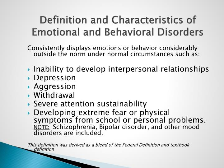 emotional and behavioral disorder The southwest minnesota state university emotional or behavioral disorder  courses are accessible in an online format this program will.