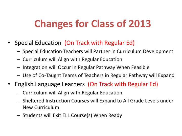 Changes for Class of 2013