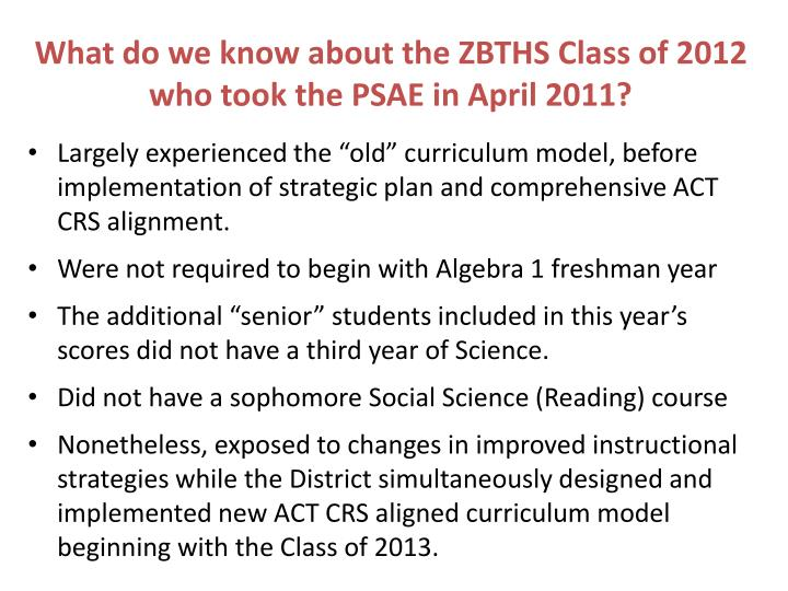 What do we know about the ZBTHS Class of 2012 who took the PSAE in April 2011?