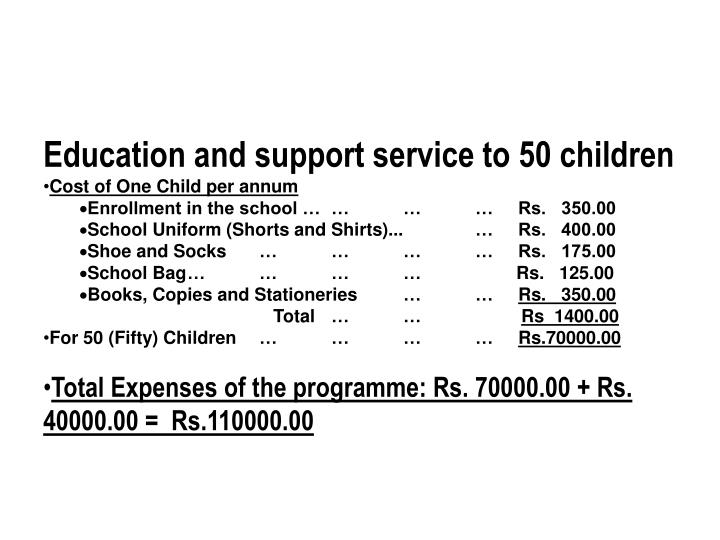 Education and support service to 50 children