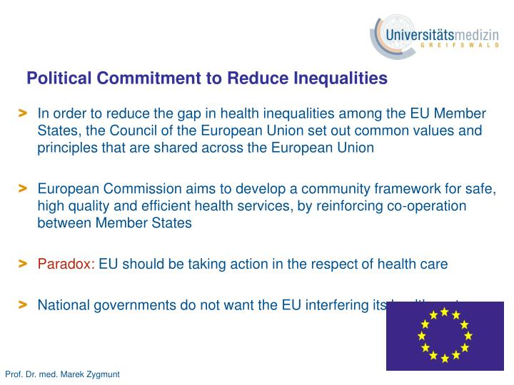 Political Commitment to Reduce Inequalities