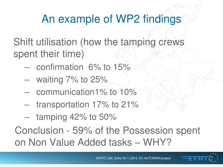 An example of WP2 findings