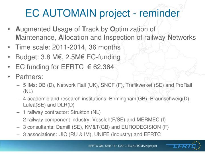 EC AUTOMAIN project - reminder