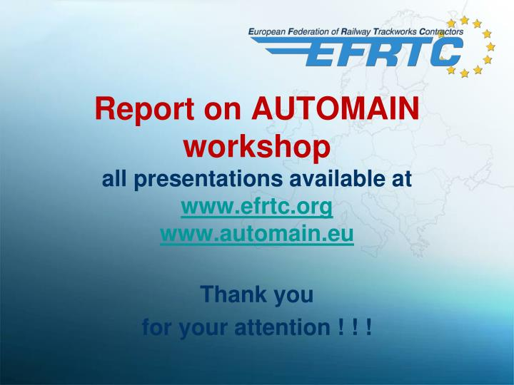 Report on AUTOMAIN workshop