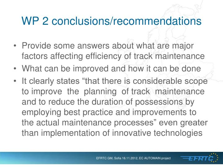 WP 2 conclusions/recommendations