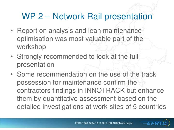 WP 2 – Network Rail presentation
