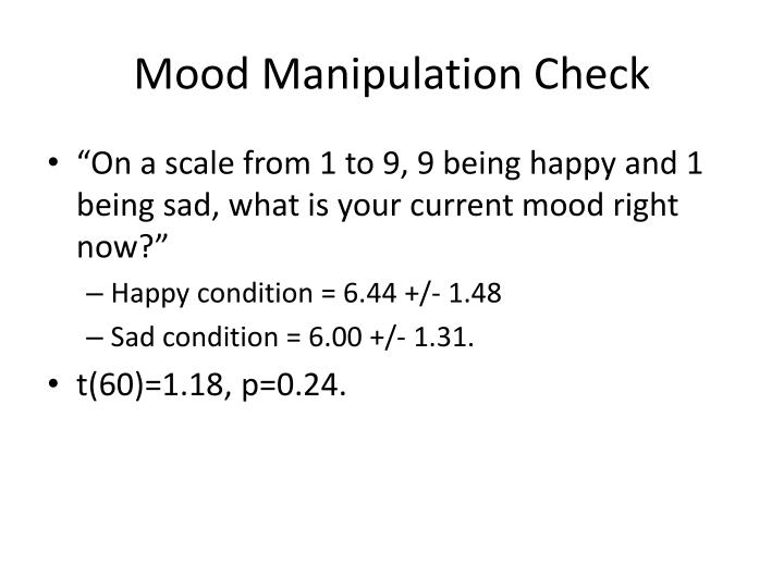Mood Manipulation Check