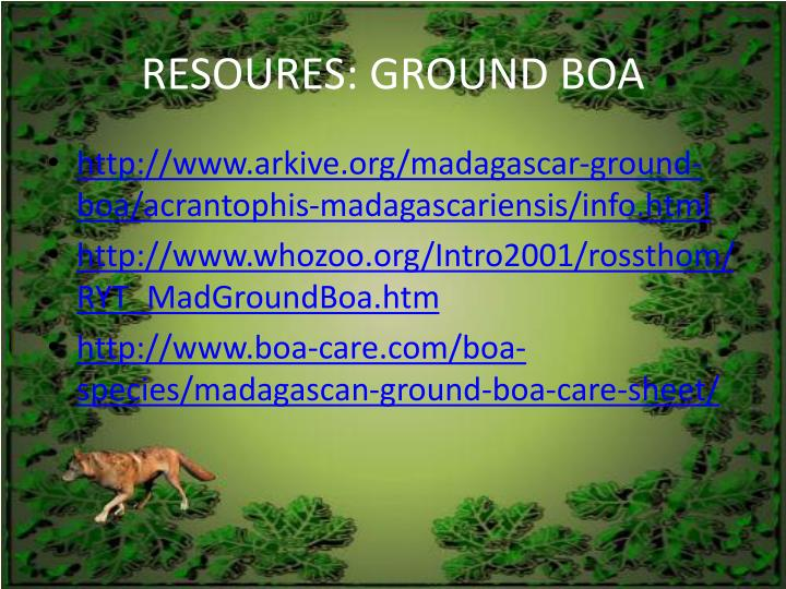 RESOURES: GROUND BOA
