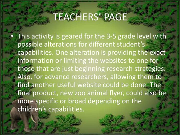 TEACHERS' PAGE
