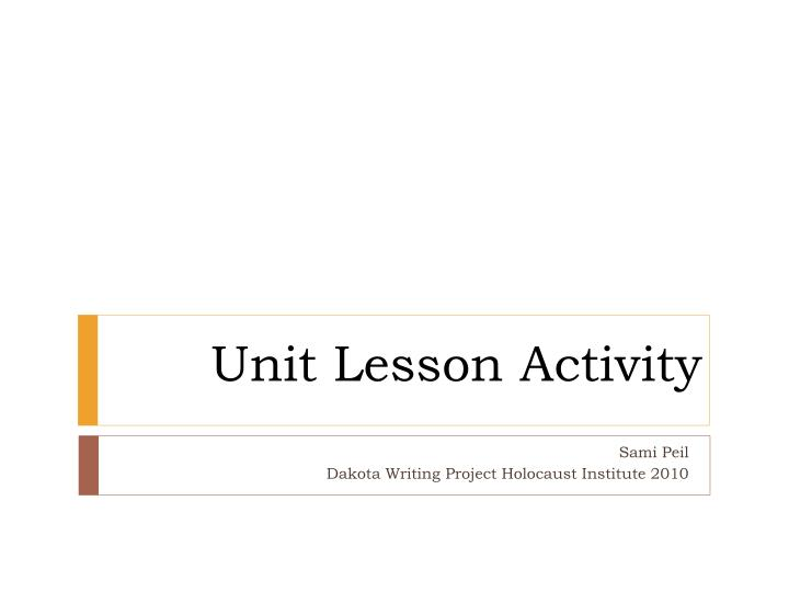 Unit lesson activity