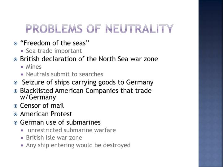 Problems of neutrality