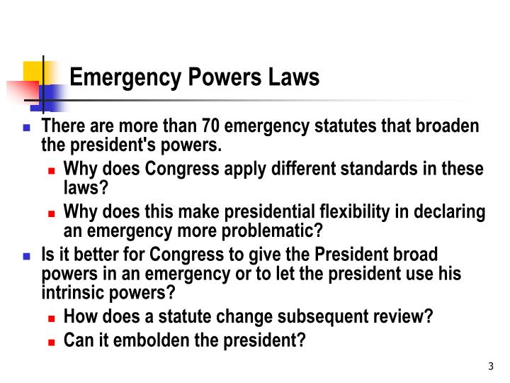 Emergency powers laws
