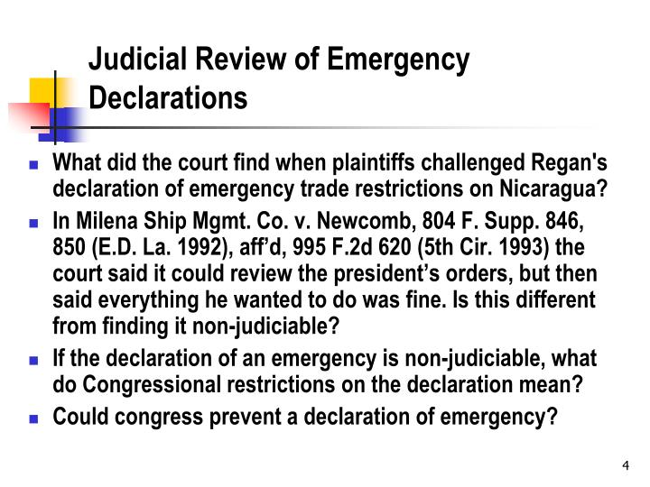 Judicial Review of Emergency Declarations