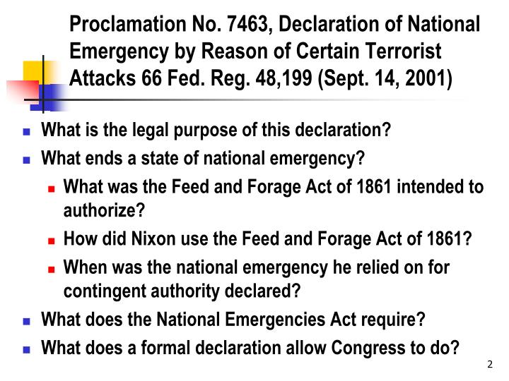 Proclamation No. 7463, Declaration of National Emergency by Reason of Certain Terrorist Attacks 66 F...