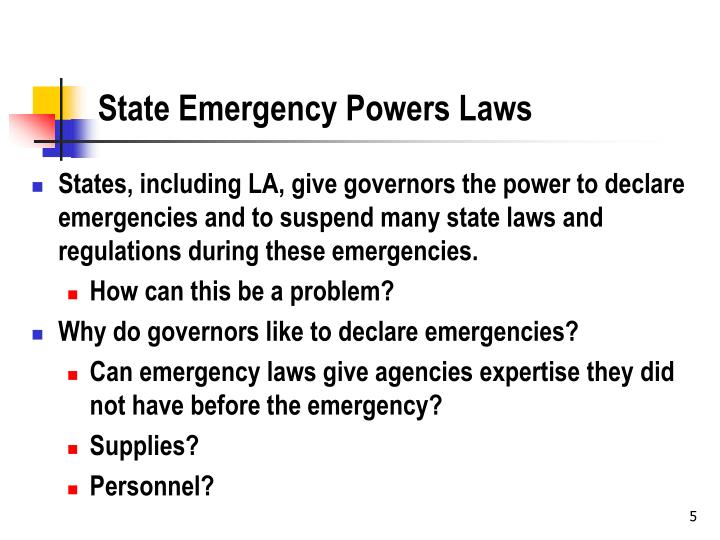 State Emergency Powers Laws