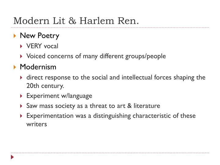 Modern Lit & Harlem