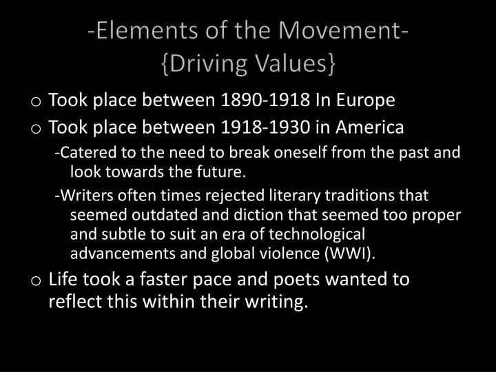 Elements Of Movement : Ppt modernist poetry powerpoint presentation id