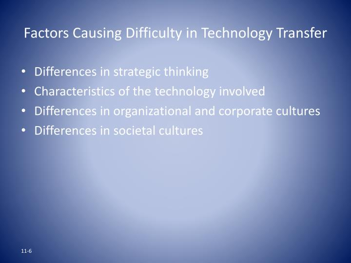 Factors Causing Difficulty in Technology Transfer
