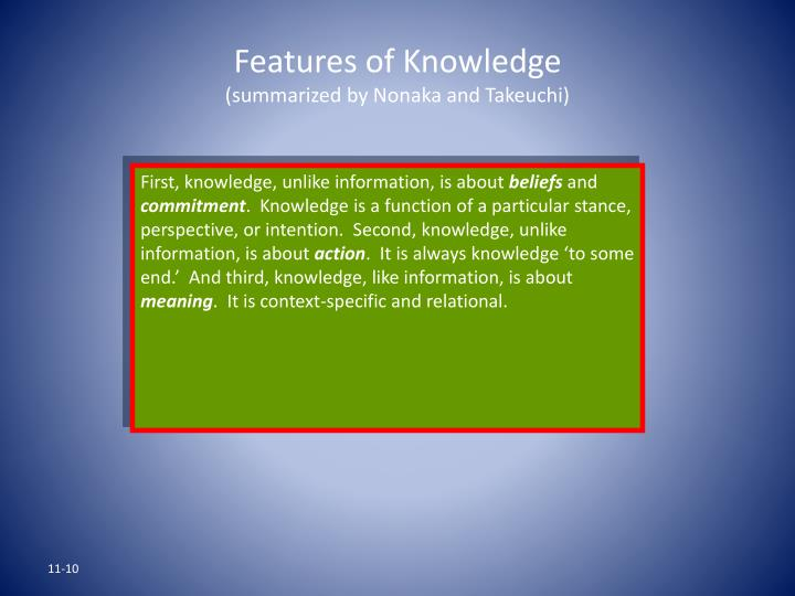 Features of Knowledge