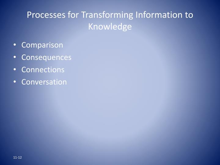 Processes for Transforming Information to Knowledge