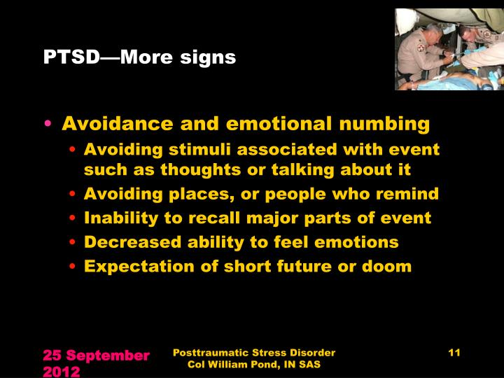 PTSD—More signs